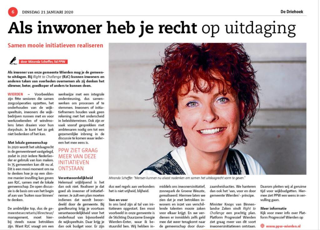 Artikel Miranda Scheffer in weekkrant De Driehoek van 20 januari 2020